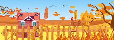 Panoramic landscapes of Countryside in autumn. mid autumn with field, blue sky, farm houses, grass and leaves falling from trees in yellow foliage. Pretty landscape in fall season. 일러스트