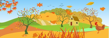 Panoramic of Countryside landscape in autumn,  illustration of horizontal banner in autumn green and yellow hills, farm house,  leaves falling from trees.
