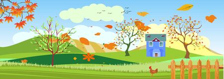 Panoramic Countryside landscape in spring, farm with fence, green hills blowing trees, vector illustration