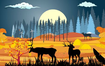 landscapes of wildlife in autumn. Deers silhouettes in wildlife scene, with field, grass, forests, and leaves falling from trees