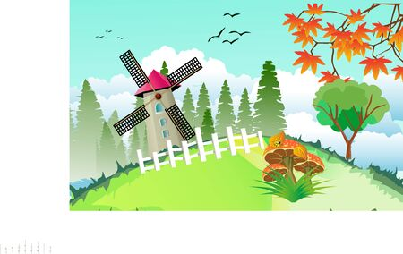 Mill farm,  house, forest,  Countryside landscape, windmill, vector illustration