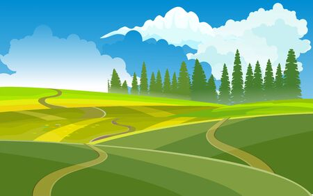 Narure landscape, green fields and valley, Countryside landscape,  vector illustration 일러스트