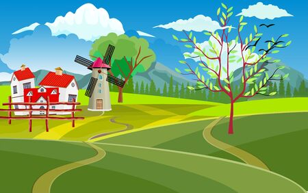 Mill farm, horse and house with red cover Countryside landscape, windmill, vector illustration