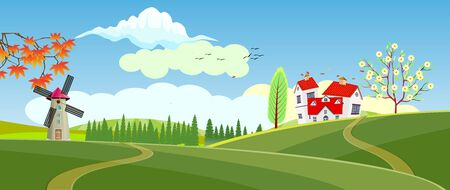 Panoramic of Countryside landscape in spring, illustration of horizontal banner in autumn green and yellow hills, farm house, leaves falling from trees.