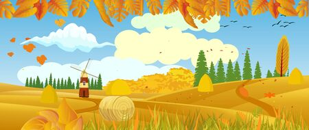 Panoramic of Countryside landscape in autumn, illustration of horizontal banner in autumn green and yellow hills, farm house, leaves falling from trees. 일러스트