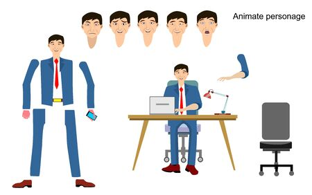 Front, view animated character. Manager character creation set with face,  emotions,  flat vector illustration.