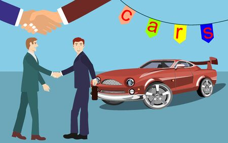 Car seller and buyer handsshake, Car sale or rental car. Seller man give the car keys to the buyer. Vector illustration Фото со стока - 131553437