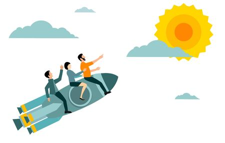 Business team flying on a rocket to their goal. leading company to the success. Business motivation concept. Vector illustration 일러스트