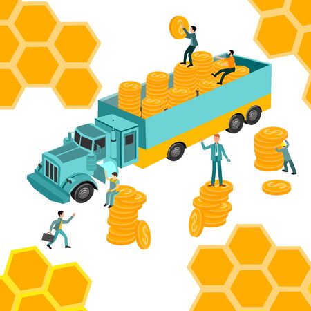 people working on the truck with, golden coins. financial growth and stability concept. Business poster for presentation, social media, banner, web page.  vector illustration Ilustracja