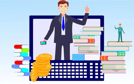 People with books and laptop Different persons trying to be succesfull. Concept  vector illustration. Flat vecto