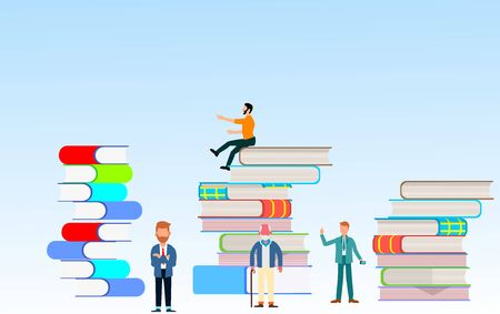 People with books. Different persons trying to be succesfull. Concept  vector illustration. Flat vector Ilustracja