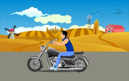 motorcyclist driving on the highway, countrycide view on background, vector Illustration
