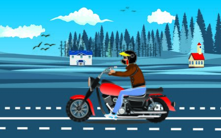 motorcyclist driving on the highway, countrycide view on background, vector Ilustracja