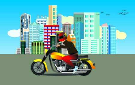 motorcyclist driving on the highway, urban buildings view on background, vector Ilustracja
