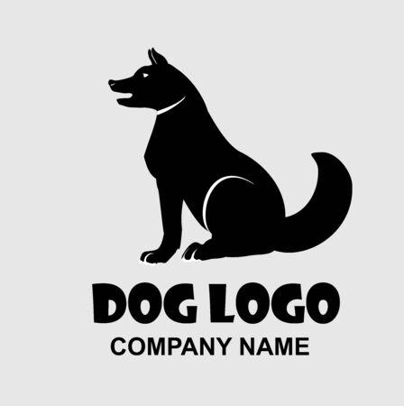 Sitting dog black logo design vector icon 일러스트