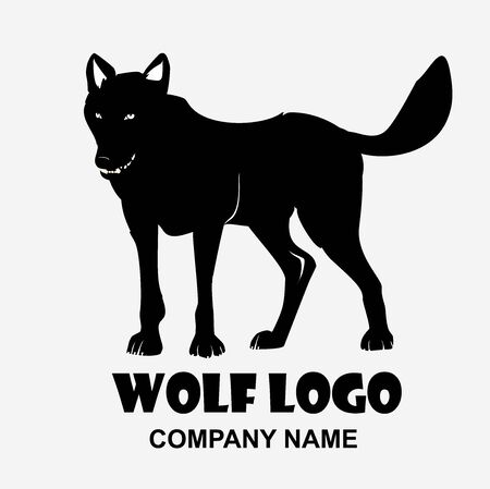 Wolf monochrome color, Wolf Vector Logo Silhouette Animal Wildlife Illustration Ilustracja