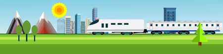 Flat vector illustration of countryside landscape urban view, train driving near the city houses , f and mountain in background. Banner horizontal panorama. Ilustracja