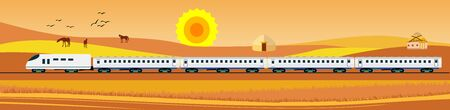 Flat vector illustration of  desert countryside landscape golden hills view, train driving near the mountains, Kazakhstan. Banner horizontal panorama.