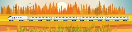 Flat vector illustration of countryside landscape golden forest view, train driving near the forest , in background. Banner horizontal panorama.