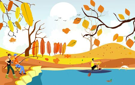 Fisherman catching fish in the river, countryside golden autumn view in background vector