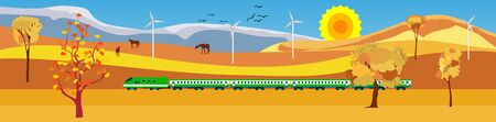 Flat vector illustration of countryside landscape golden hills view, train driving near the mountains ,in background. Banner horizontal panorama. Ilustracja