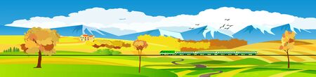 Flat vector illustration of countryside landscape golden hills view, the mountains ,in background. Banner horizontal panorama.