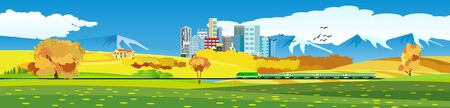 city, farm houses, green fields, train on railroad, landscapes banners vector design.  Horizontal panoramic illustration Ilustracja