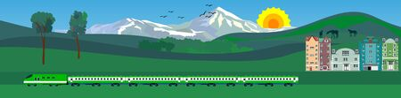 Train on railway with hills and mountains in background.  vector illustration. Ilustracja