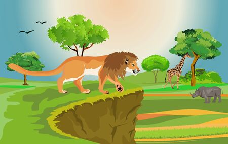 vector african savannah scene with differend animals Ilustracja
