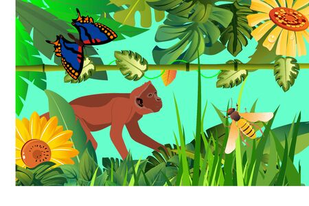 Jungle scene, monkey and tropical flora and fauna vector