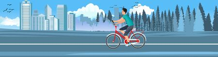 cyclist driving on the road, urban and countryside landscape in background, panoramic vector