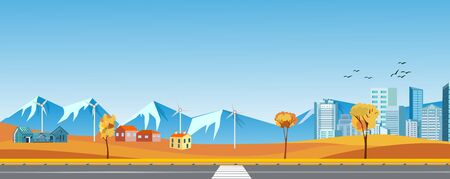 A city, farm houses and mountains landscapes banners vector design.  Horizontal panoramic illustration