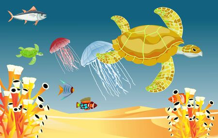 underwater world illustration vector. fish, turtles, jellyfish and coral reefs are beautiful and colorful