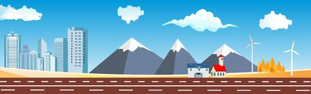 Panoramic city  buildings and houses highway countryside vector banner flat