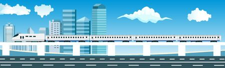 Panoramic city street building urban train on road downtown vector banner flat Ilustracja
