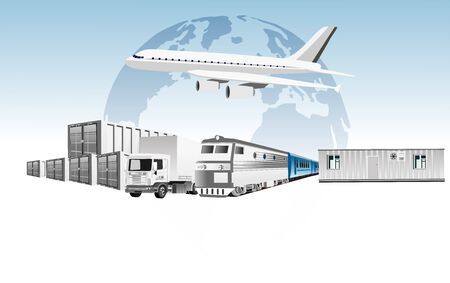 Global 3d vector concept of Warehouse, trucks, containers, air delivery, Logistic . Easy to edit and customize. Vector illustration Ilustracja