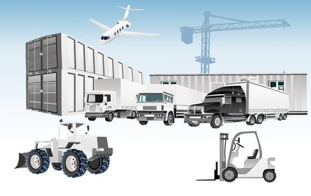 3d vector concept of Warehouse, trucks, containers, Logistic . Easy to edit and customize. Vector illustration Ilustracja