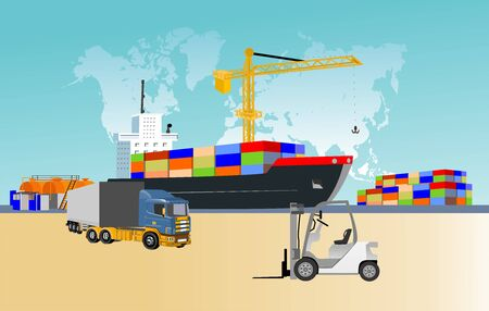 Logistics and transportation of Container Cargo ship, heavy trucks and sea port with working crane in shipyard , logistic import export and transport concept vector