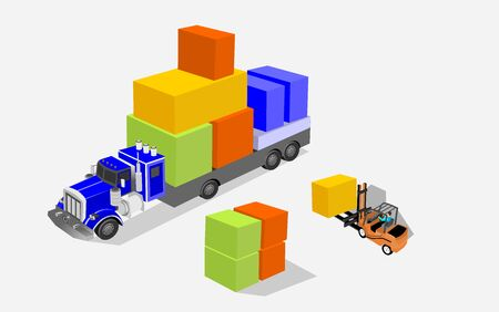 Logistics and transportation of Containers by trucks with arrow  direction logistic import export and transport industry isometric vector concept