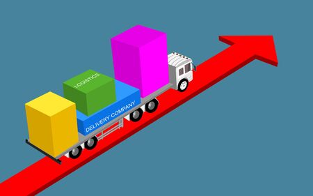 Logistics and transportation of Containers by truck  with arrow  direction logistic import export and transport industry concept