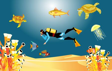coral reef and fishes on a blue sea deep, diver, Underwater marine life. Vector panoramic illustration.