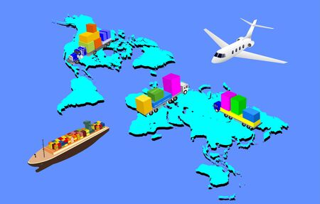 Global logistics network  3d isometric illustration  air cargo  rail transportation  shipping world delivery  cargo Ilustracja