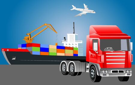 Global logistics concept, 3d vector truck, dry cargo ship, vector illustration Ilustracja