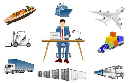 Logistics elements concept set with  logistic 3d vector icons isolated vector illustration