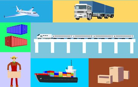 Logistic theme set of elements, vector