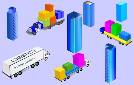 isometric city buildings and isometric trucks, consept vector illustration. 스톡 콘텐츠 - 133170579