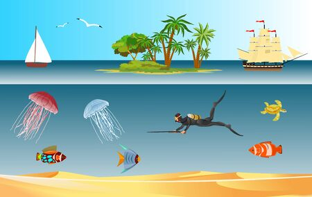 Underwater world landscape, diver hunts, fishes, tropical island, vector