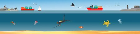 Underater world landscape, diver hunts, fishes, ships on the surface, vector