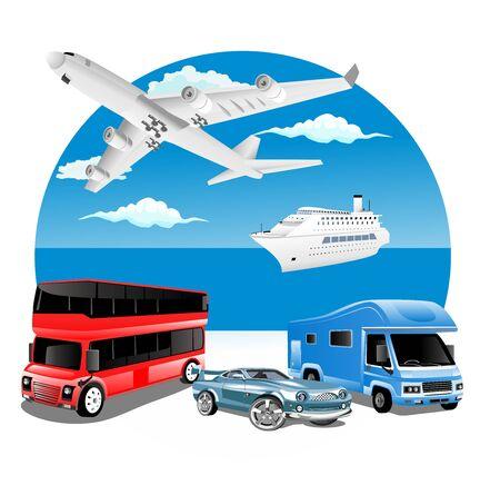 Concepto de negocio de logística con vehículos de transporte de entrega y océano en segundo plano.