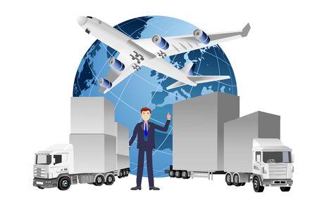 Globales Logistikkonzept, 3D-Vektor-LKW, Schiff, Zug, Vektorillustration